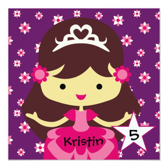 Custom Dark Hair Princess Birthday Invitations