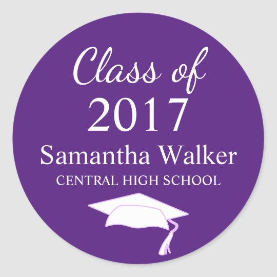 Custom Dark Purple & White Graduation Sticker