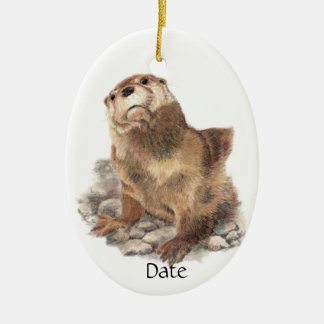 Custom Date Cute River Otter, Nature Animal Christmas Ornament