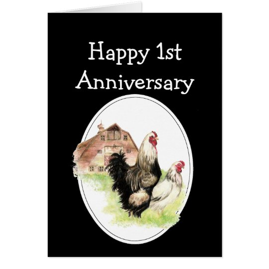 Custom Dated Anniversary Farm, Country Chickens Card