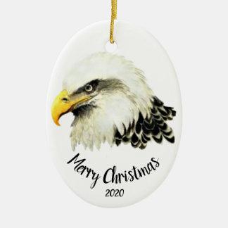 Custom Dated Bald Eagle Owl Bird Merry Christmas Christmas Ornament