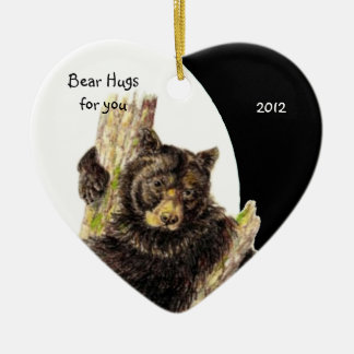 Custom Dated, Bear Hugs for You Animal Humor Christmas Ornament