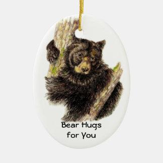 Custom Dated  Bear Hugs to You Black Bear Animal Christmas Ornament