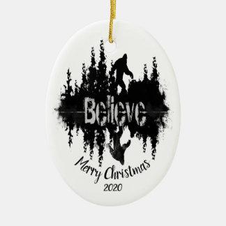 Custom Dated Believe Sasquatch Big Foot Legend Christmas Ornament