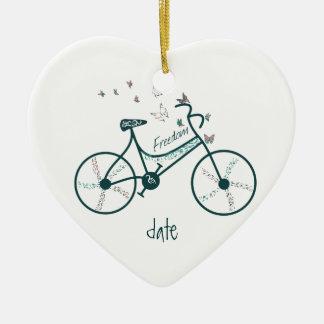 Custom Dated Bike Butterflies, Flowers & Freedom Christmas Ornament