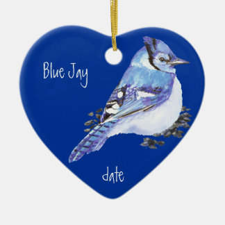 Custom Dated Blue Jay Bird Animal Christmas Ornament