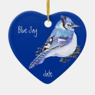 Custom Dated Blue Jay Bird Animal Christmas Ornament