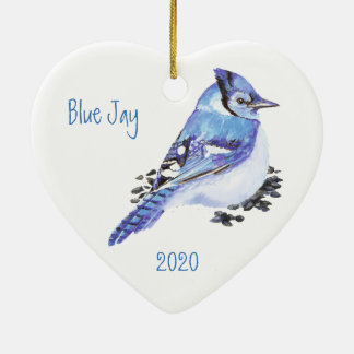 Custom Dated Blue Jay Bird Watercolor Art Christmas Ornament