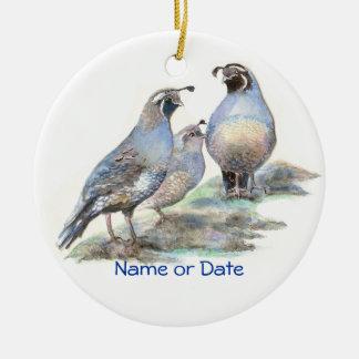 Custom Dated California Quail Watercolor Bird Christmas Ornament