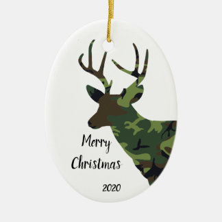 Custom Dated Camouflage Stag Deer Christmas Christmas Ornament