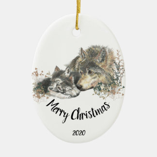 Custom Dated Caring Wolf & Cub caregiving animal Christmas Ornament
