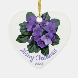 Custom Dated Christmas African Violet flower Christmas Ornament
