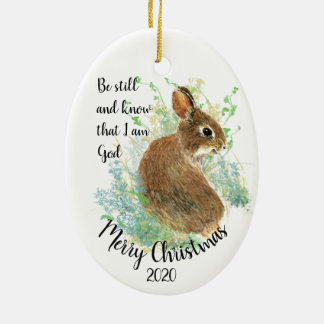 Custom Dated Christmas Be Still I am God Quote Christmas Ornament