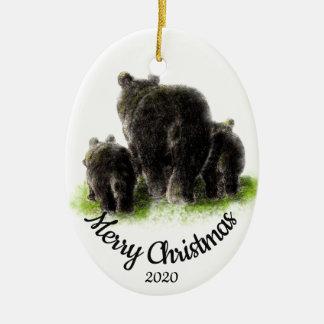 Custom Dated Christmas Bear Family Animal art Christmas Ornament