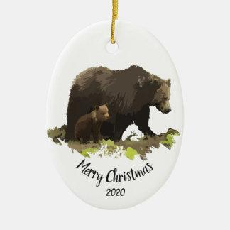 Custom Dated Christmas Bear Family Cub Animal art Christmas Ornament