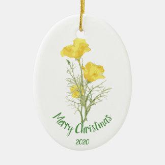 Custom Dated Christmas California Poppy Flower Art Christmas Ornament