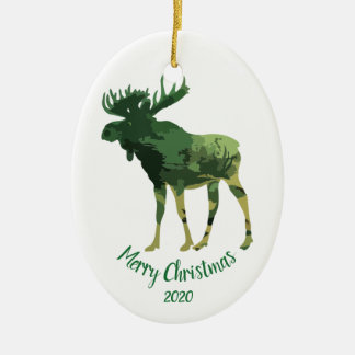 Custom Dated Christmas Camouflage Moose Fun Art Christmas Ornament