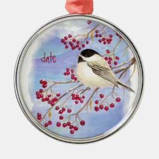 Custom Dated Christmas Chickadee Bird & Berries Silver-Colored Round Decoration