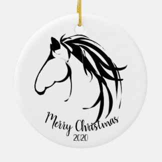 Custom Dated Christmas Classic Horse Head Logo Christmas Ornament