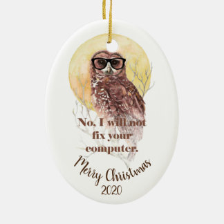 Custom Dated Christmas Computer Geek Fun Owl Christmas Ornament