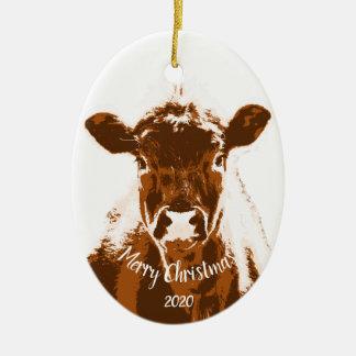 Custom Dated Christmas Cow Farm Animal Christmas Ornament