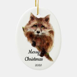 Custom Dated Christmas Cute Red Fox Animal Christmas Ornament