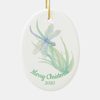 Custom Dated Christmas Dragonfly Watercolor art Christmas Ornament