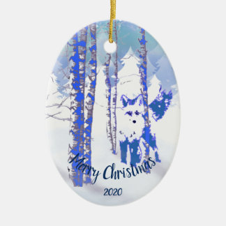 Custom Dated Christmas Fox in Birch Tree Forest Christmas Ornament