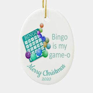 Custom Dated Christmas Fun Bingo Quote Christmas Ornament