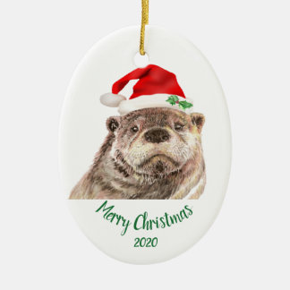 Custom Dated Christmas Fun Otter Santa Hat Animal Christmas Ornament