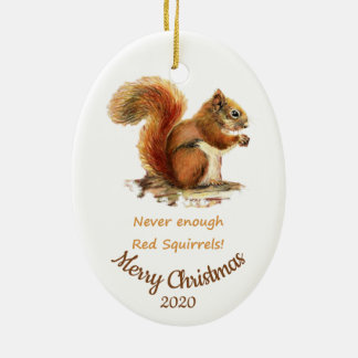 Custom Dated Christmas Fun Red Squirrel Quote Christmas Ornament