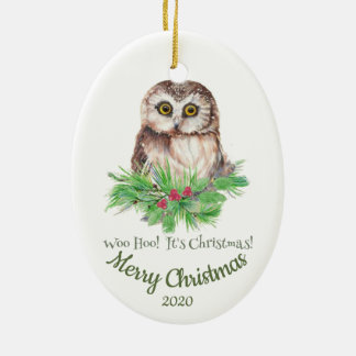 Custom Dated Christmas Funny Owl Quote Christmas Ornament