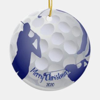 Custom Dated Christmas Golfing Golfer Fun Christmas Ornament