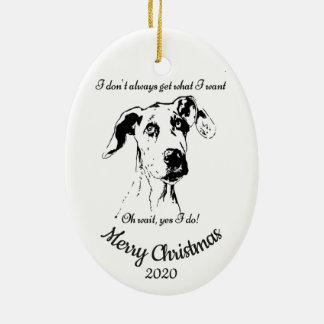 Custom Dated Christmas Great Dane Dog Humor Christmas Ornament