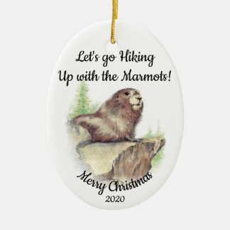 Custom Dated Christmas Hiking Quote Marmot Fun Christmas Ornament