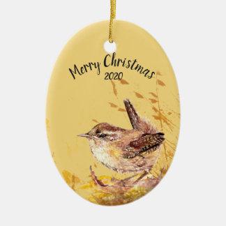 Custom Dated Christmas House Wren Bird Watercolor Christmas Ornament