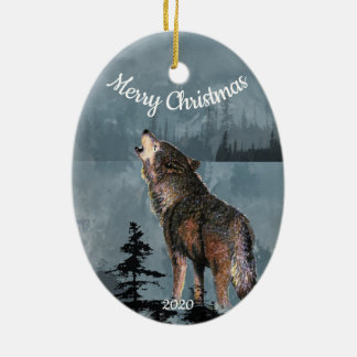 Custom Dated Christmas Howling Wolf Watercolor Art Christmas Ornament