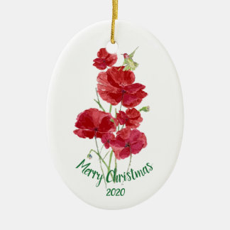 Custom Dated Christmas Hummingbird Red Poppies Christmas Ornament