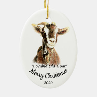 Custom Dated Christmas Lovable Old Goat Fun Christmas Ornament