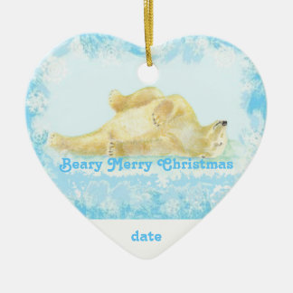 Custom Dated Christmas Polar Bear Fun Ceramic Heart Decoration