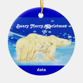 Custom Dated Christmas Polar Bears Fun Christmas Ornament