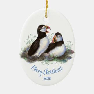 Custom Dated Christmas Puffin Ocean Bird Christmas Ornament