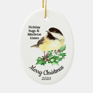 Custom Dated Christmas Quote Fun Chickadee Bird Christmas Ornament