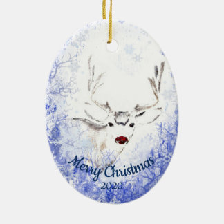 Custom Dated Christmas Red Nosed Reindeer Fun Christmas Ornament