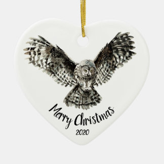Custom Dated Christmas Striking Owl Bird Christmas Ornament