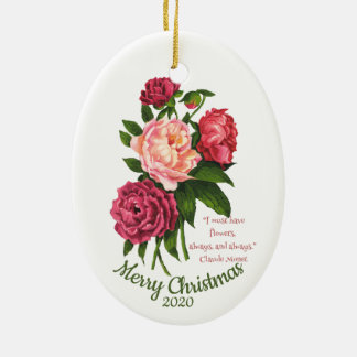 Custom Dated Christmas Vintage Peony Quote Christmas Ornament
