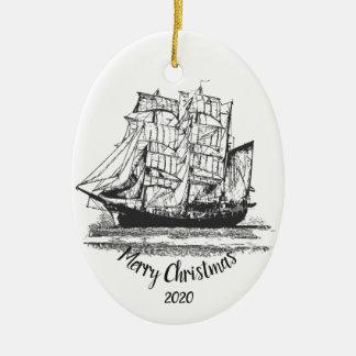 Custom Dated Christmas Vintage Sailing ship Art Christmas Ornament