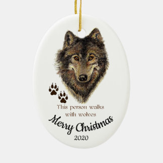 Custom Dated Christmas Walks with Wolves Quote Christmas Ornament