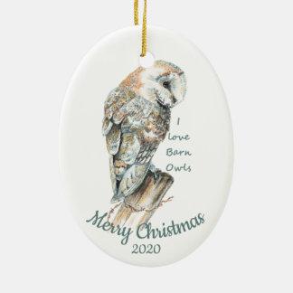 Custom Dated Christmas  Watercolor Barn Owl Bird Christmas Ornament