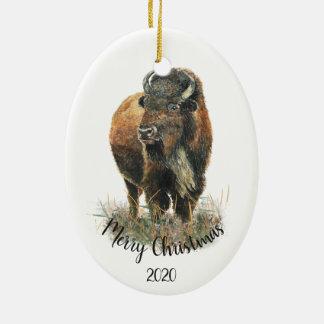 Custom Dated Christmas Watercolor Bison Buffalo Christmas Ornament